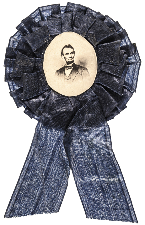 c 1865 President Abraham Lincoln Silk Mourning Ribbon with Albumen Image and Pin