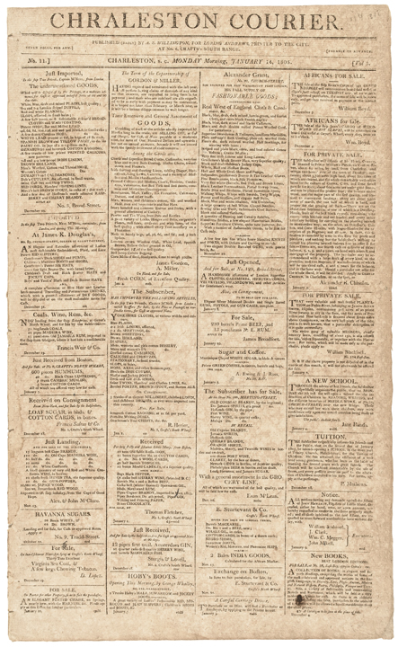 1805 CHARLESTON COURIER Newspaper Ad for SELLING Slaves CITY BADGES (SLAVE TAGS)