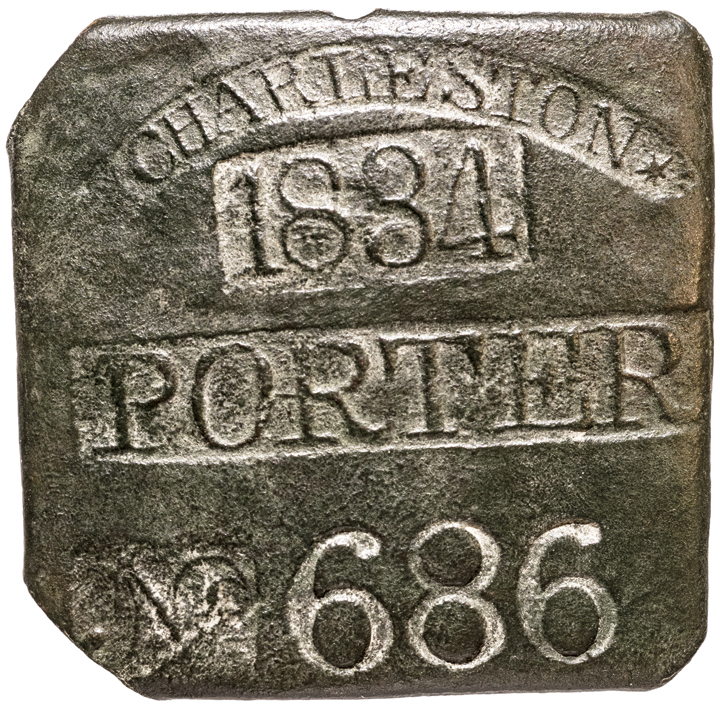 1834 Charleston, SC. PORTER - SLAVE HIRE TAG / BADGE Genuine + ORIGINAL