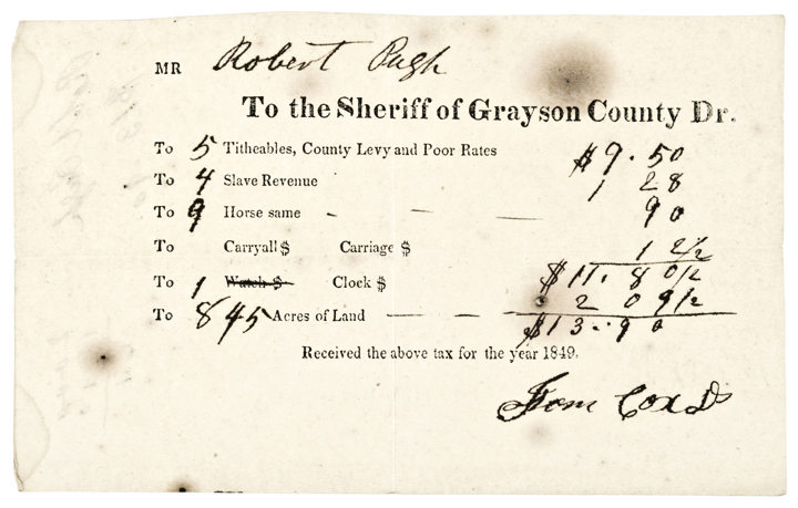 1849 Printed Official Receipt For Taxes Paid On Slaves