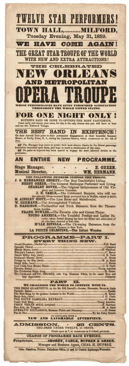 1859 New Orleans and Metropolitan Opera Troupe Broadside