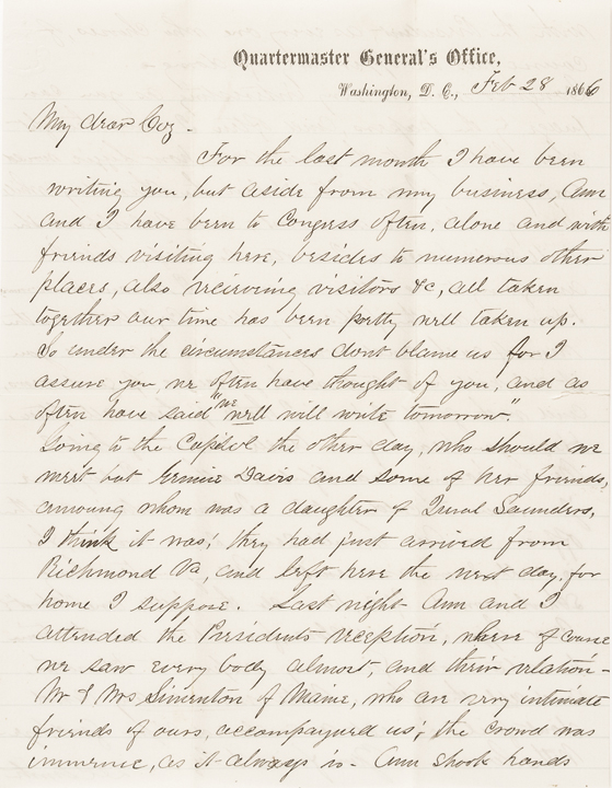 1866 Letter Describing Visit to White House and Meeting President Andrew Johnson