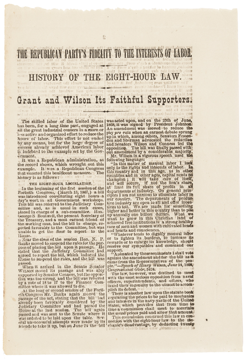 1872 Grant and Wilson Campaign Tract: History of the Eight-Hour Law