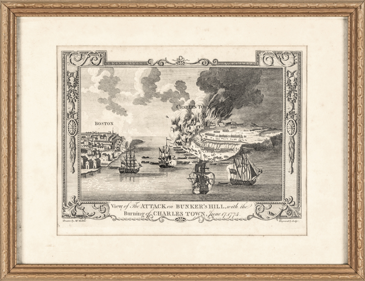 c. 1781 Engraved View of The Attack on Bunker's Hill + Burning of Charles-Town