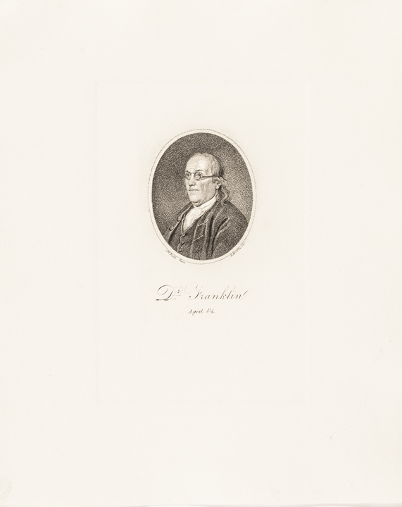 c. 1800, Print of Benjamin Franklin at Age 84
