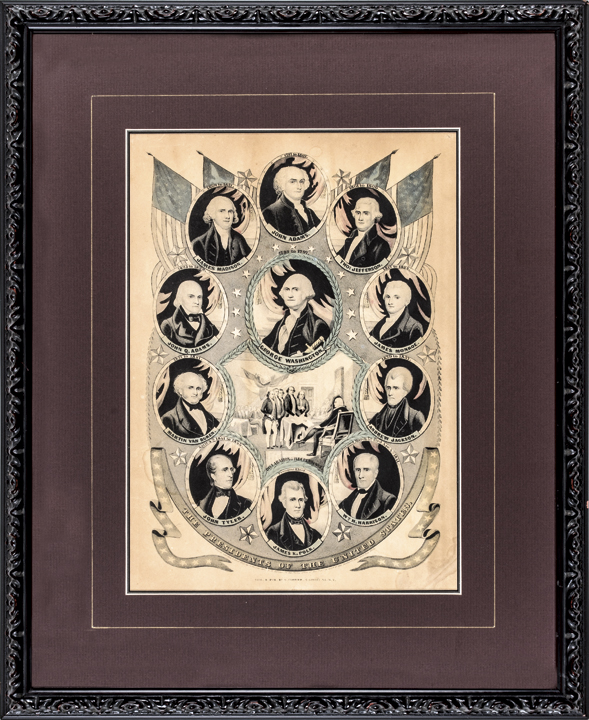 1844 Currier Lithographic Print of First Eleven U.S. Presidents through Polk