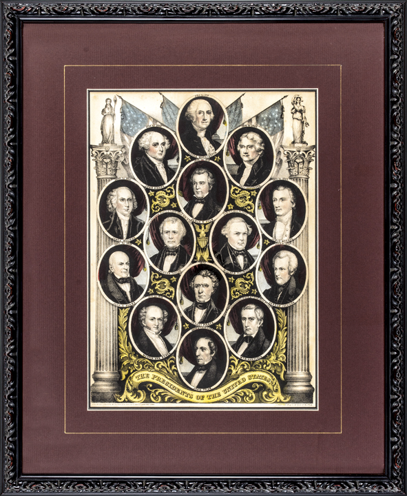 Hand Colored Lithograph Print Entitled: The Presidents of the United States