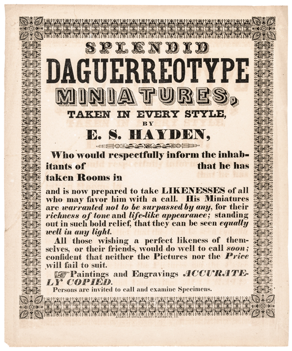 c. 1850 Daguerreotypes Advertising Broadside, E.S. Hayden, Waterbury, CT