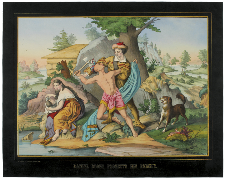1874, DANIEL BOONE PROTECTS HIS FAMILY - Color Lithograph by H. Schile