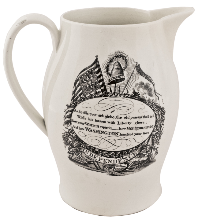 Historic Liverpool Creamware Pitcher, with Three American Patriotic Transfers