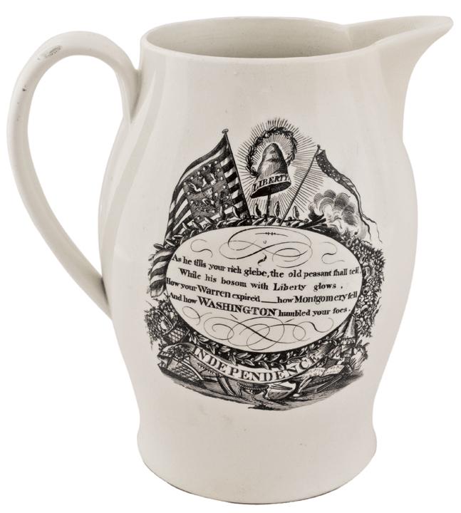 Historic Liverpool Creamware Pitcher, with Three American Patriotic Transfers