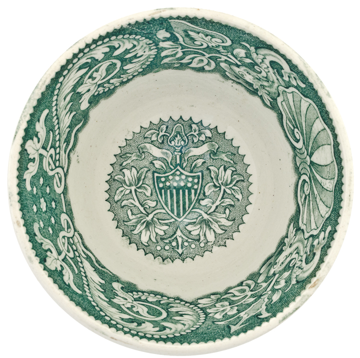 c. 1800s American Eagle Riding on a Shell Pattern, Green Tea Bowl