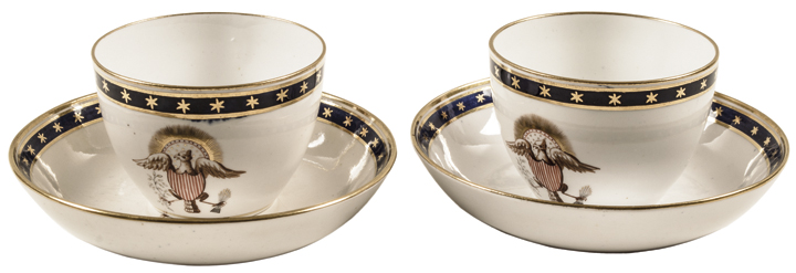 c. 1840 mid-19th Century Pair of Patriotic American Eagle Tea Cups + Saucers