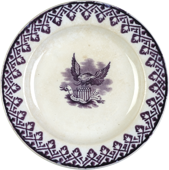 1868, Historical Staffordshire Mulberry Transferware, Gem Pattern by Hammersley