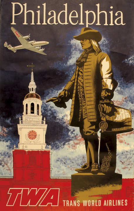 c. 1960s, TWA Travel Poster titled, Philadelphia, With the Benjamin Franklin Statue