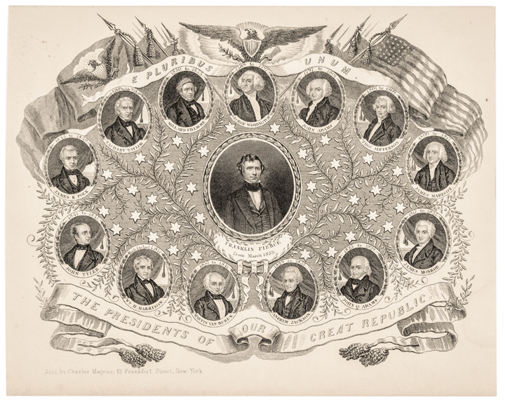 c 1855 Pres. Franklin Pierce Magnus Print: The Presidents of Our Great Republic