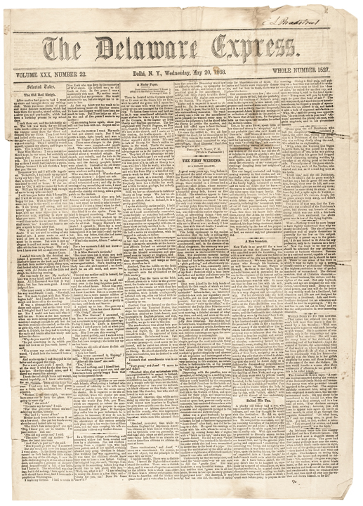 1868 Newspaper Impeachment + Acquittal of President Andrew Johnson, Delhi, NY