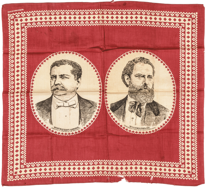 1880 Winfield Hancock + English Presidential Campaign Bandana + Campaign Button