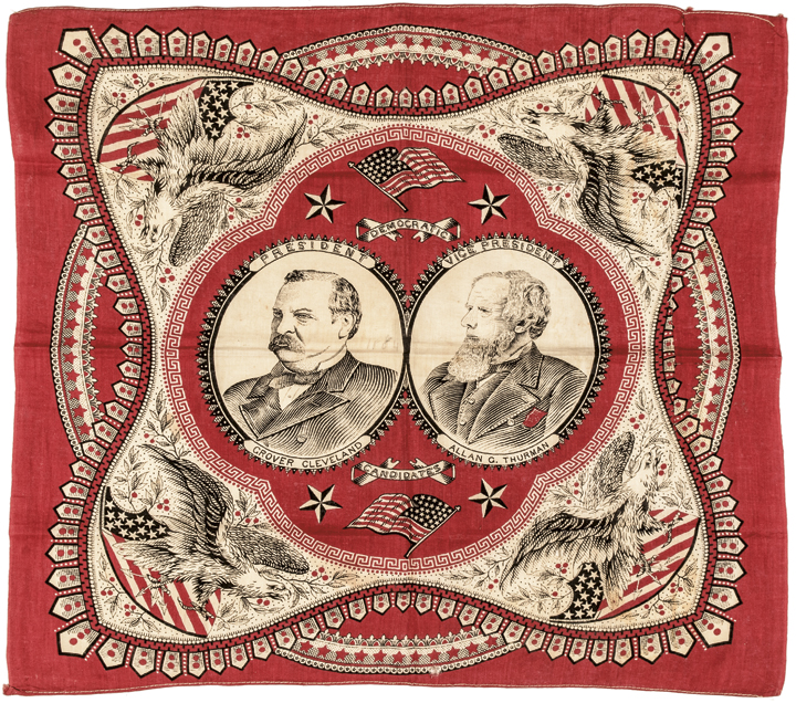 1880 Presidential Campaign Bandanna Grover Cleveland +Allen G. Thurman Portraits