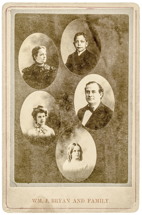c. 1896 to 1900 William Jenings Bryan + Family Cabinet Card Photograph