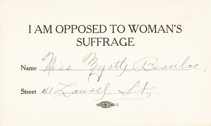 c. 1915 Woman Signs Card as being OPPOSED TO WOMANS SUFFRAGE