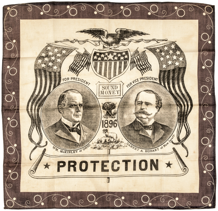 1896 Pres. Campaign Bandana, Sound Money Candidates McKinley and Hobart