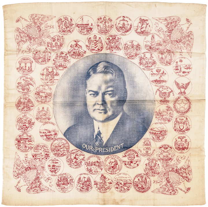 1932 Presidential Campaign Bandana, Herbert Hoover Portrait on Cotton, 48 States