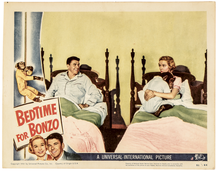 1951 Ronald Reagan in BEDTIME FOR BONZO Universal Films Lobby Card