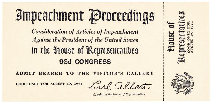 1974 Rare Original President Richard Nixon Impeachment Trial Ticket