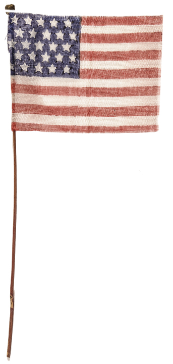 c. 1837 25-Star American Printed Gause Cloth Fabric Parade Flag with Hand Pole