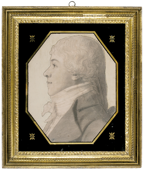 Early 1800's Superb Octagonal Graphite and Chalk Portrait By Charles Saint-Memin