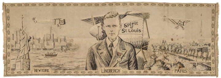 c. 1927, LINDBERGH Portrait Commenorative Tapestry, Paris, France