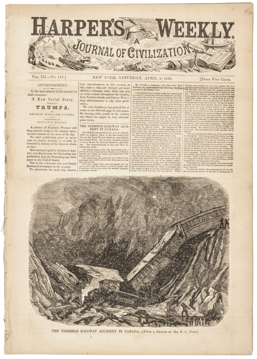 1859 Harper's Weekly with Engraved Map: Map of the Route to Pike's Peak.