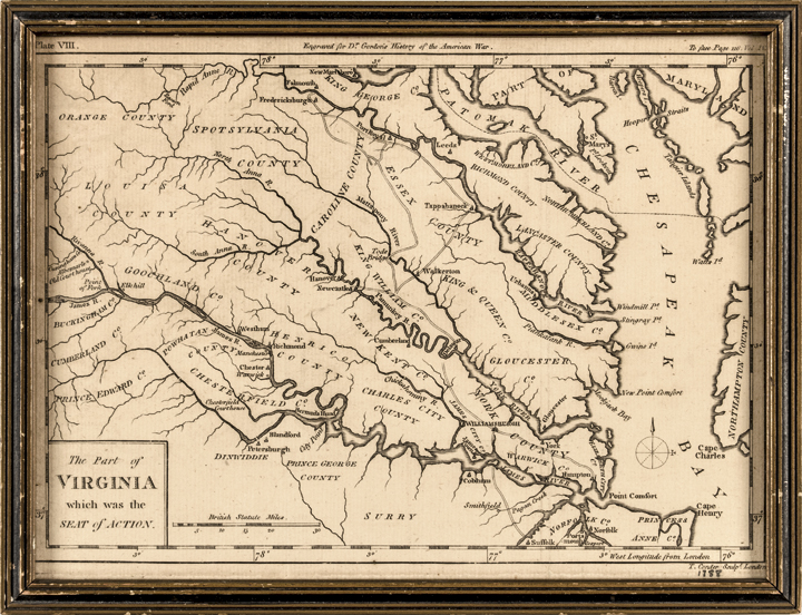 (1788) Revolutionary War Map: The Part of Virginia which was the Seat of Action