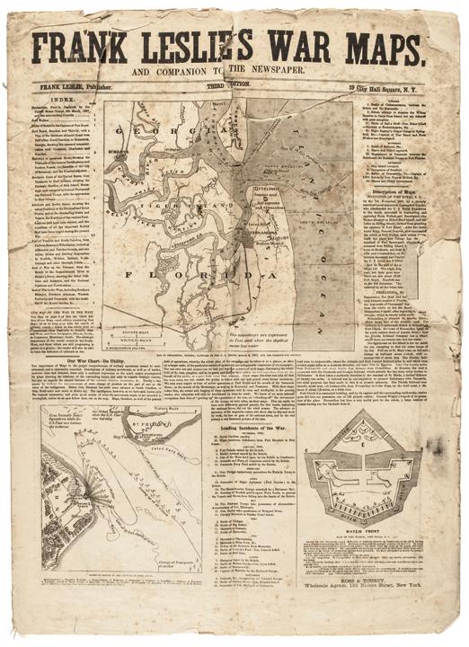 April 1862 Civil War Period, FRANK LESLIES WAR MAPS Dec. 1860 to March 4, 1862