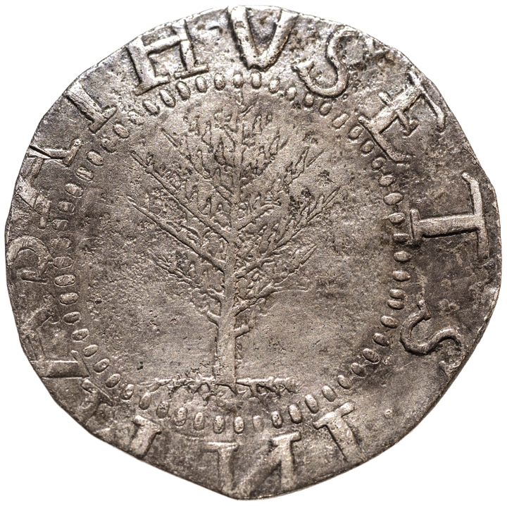 1652 MA Pine Tree Shilling Large Planchet. No Pellets at Trunk. Noe-2 About Unc.