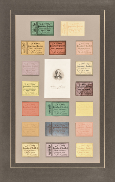 1868 IMPEACHMENT OF THE PRESIDENT ANDREW JOHNSON Admission Ticket Display Lot
