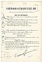 BENITO MUSSOLINI + VICTOR EMANUEL III Document Signed