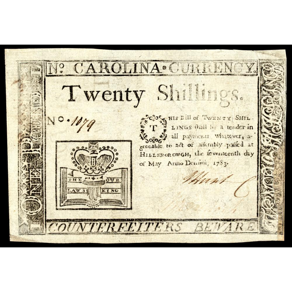 Colonial Currency, NC. May 17, 1783 20s Crown + Book Contemporary Cft. PMG EF-45