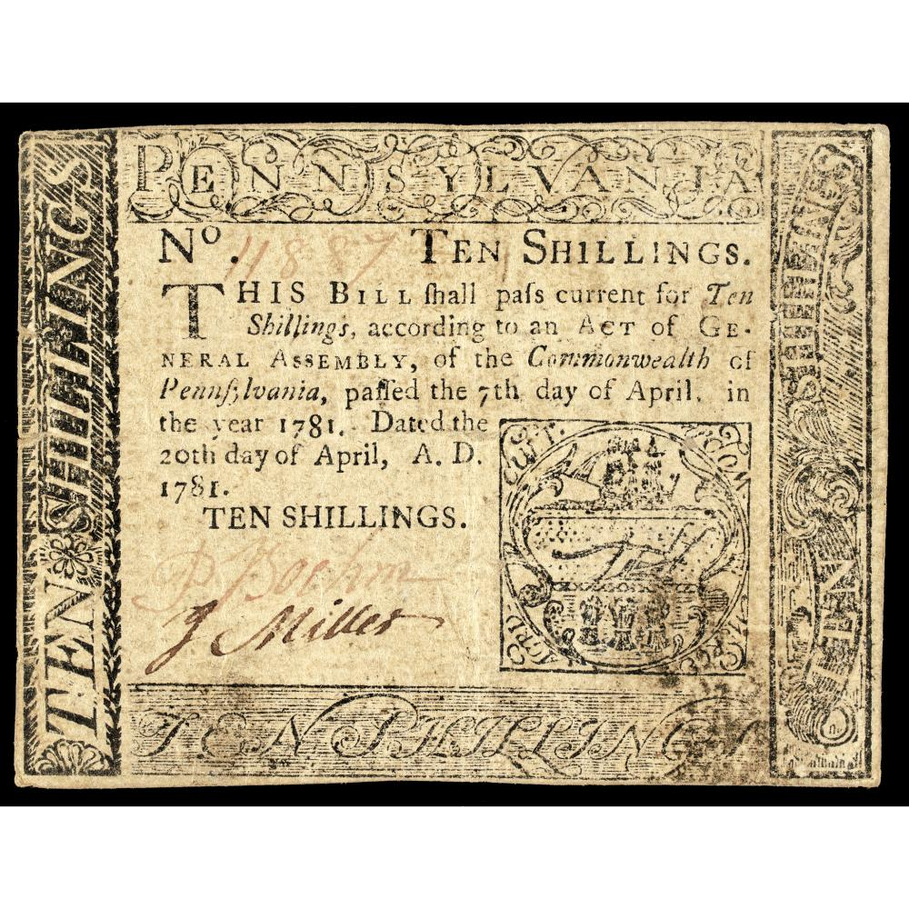 Colonial Currency Pennsylvania April 20, 1781 Ten Shillings PMG Very Fine-30