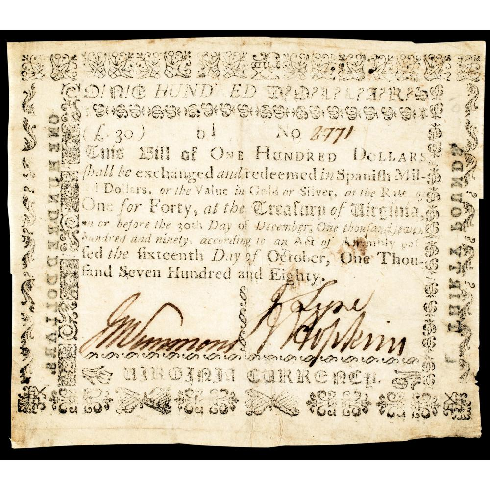 Colonial Currency, Virginia October 16, 1780 $100 Type with Printed Back VF