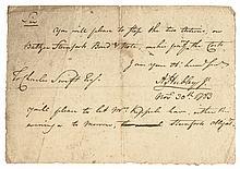 Commander ADAM HUBLEY, JR. 1783 Autographed Document
