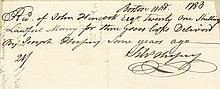 (JOHN HANCOCK) 1783 American Revolution Receipt of Governor John Hancock