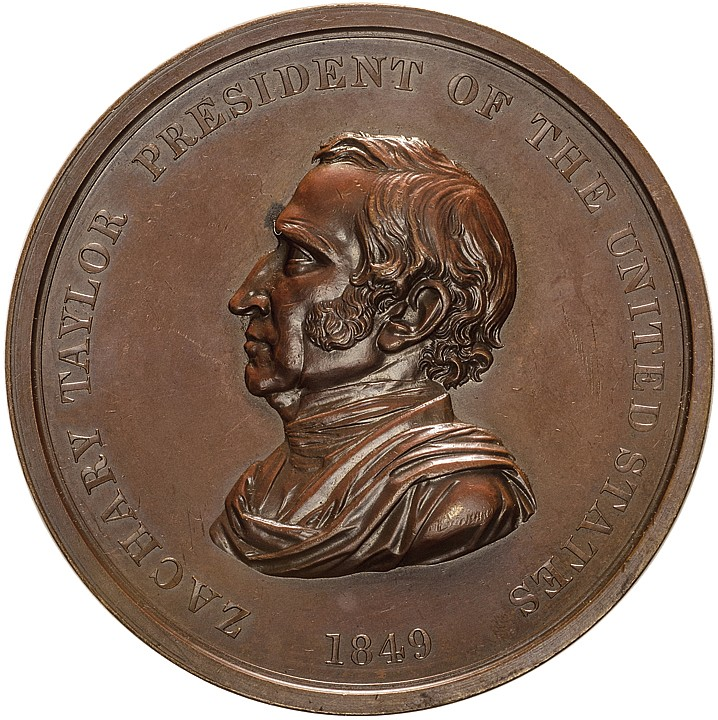 1849 Zachary Taylor Indian Peace Medal in Bronze Large First Size Ch. Mint State