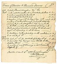 1794 Colonel Thomas Dawes Document Signed, Boston, MA Architect-Designer-Builder