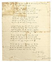 SARAH W. PERRY War of 1812 Era Manuscript Poem THE AMERICAN EAGLE