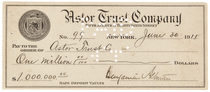 Signed Check BENJAMIN ALTMAN & WILLIAM WALDORF ASTOR