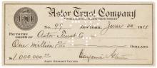 Signed Check BENJAMIN ALTMAN & WILLIAM WALDORF ASTOR