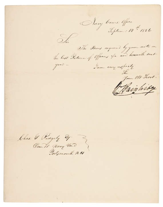 1826 Navy Letter Signed by William Bainbridge, U.S. Commodore during War of 1812