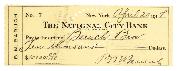 BERNARD M. BARUCH 1917 Autograph Document Signed Check